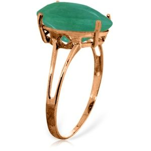 14K. SOLID GOLD RING WITH NATURAL EMERALD